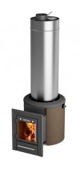 Печь банная паровая Скоропарка III Inox Люмина со встроенным баком для горячей воды черная бронза