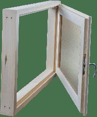 Окно из липы 300х500 двойной стеклопакет (прозрачный)
